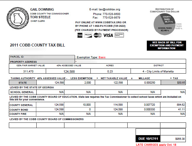 sample tax bill marietta tax bill is separate
